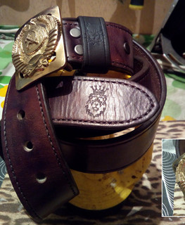 "Brown hand-made belt made of buffalo leather ""Born in the USSR"" and buckle with the emblem of the USSR by Alexandr Mehord"