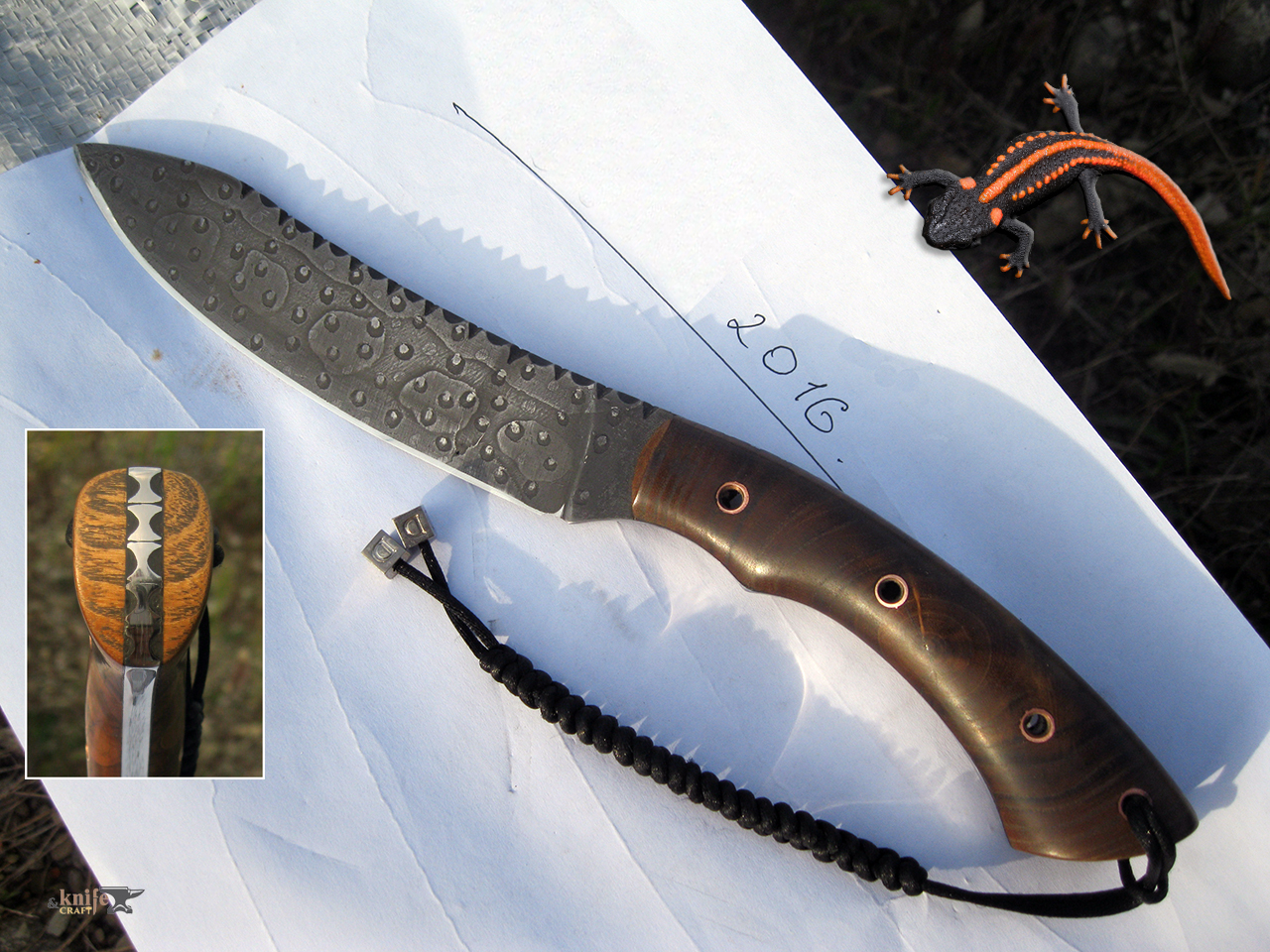 "Knife ""Tritonchik"" from ShKh15 with etching handle from acacia by Mehord"