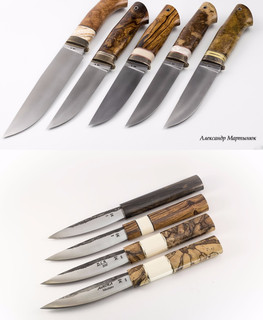 Yakut knives from M390 with handles of stabilized beech spade and walrus tusk, Ironwood Zirikote by Alexander Martynyuk (Emfitemzis)