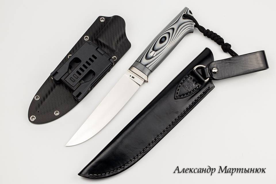 "Knife Mod. K-1 ""Synthetic"" of 95x18 by Alexander Martynyuk (Emfitemzis). Handle Titanium, G-10, Mikarta, sheaths of Leather and Kaydex"