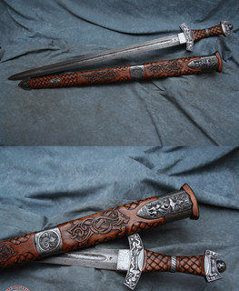 Sword with a walnut handle