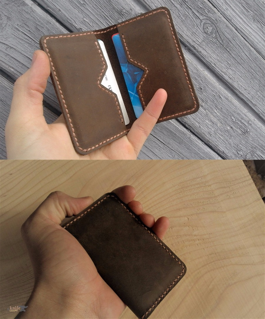 "Brown leather card holder from the workshop ""Aries and Taurus"""