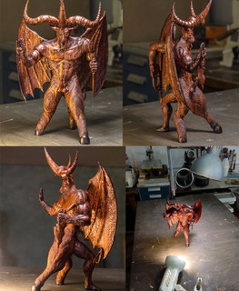 "Wooden sculpture of the god Bafomet from kokobolo by ""Carved Madness"""