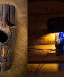 "Mask-lamp from a piece of oak by ""Carved Madness"""