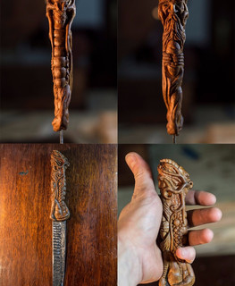 "Carved wooden knife handle by ""Carved Madness"""