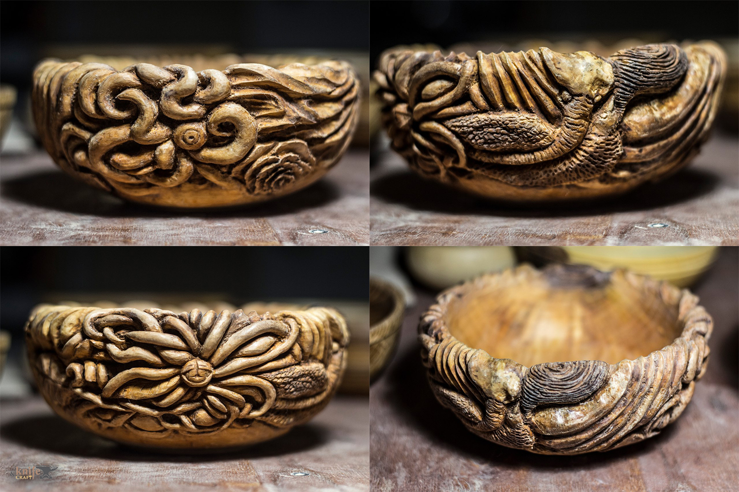 "Wooden carved bowl by ""Carved Madness"""