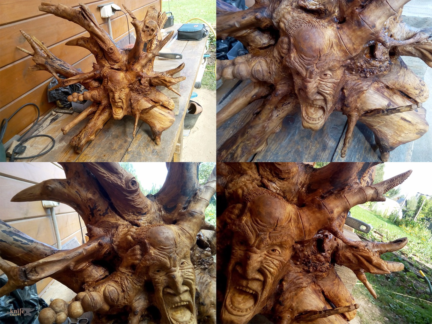 "The head is carved from the root of a tree by ""Carved Madness"""