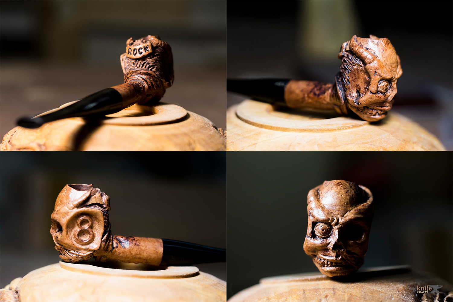 "Smoking pipe in the form of a devil from the briar by ""Carved Madness"""