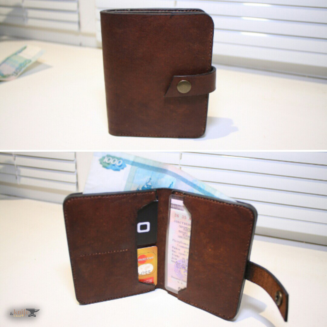 "Brown men's leather wallet by workshop ""Cactus"""