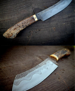 russian knife u13 steel with stabilized Karelian birch