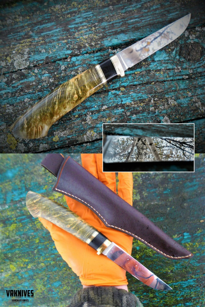 russian knife 95h18 steel with stoned hornbeam handle