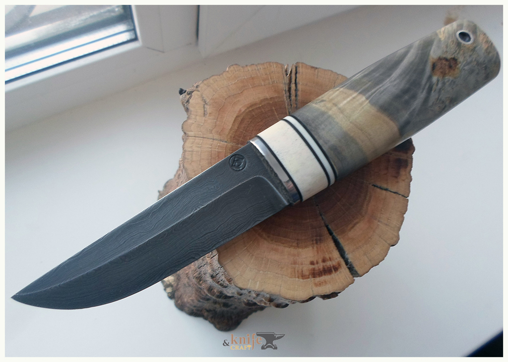 handemade Damascus steel knife in Russia, Magnitogorsk