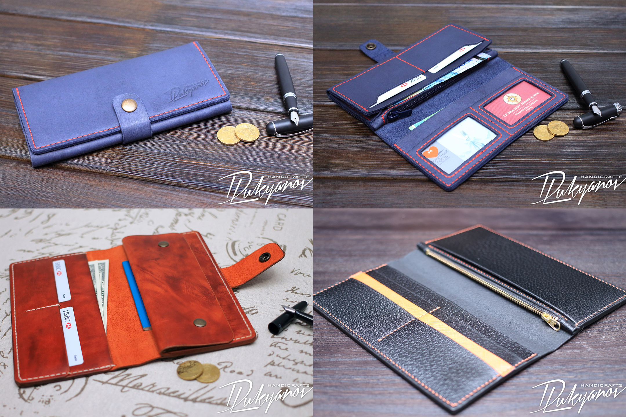 Men's womens long smooth handmade Leather zip Traveler Wallet dark brown blue with ID and cards holder buy in Almaty, Kazahstan