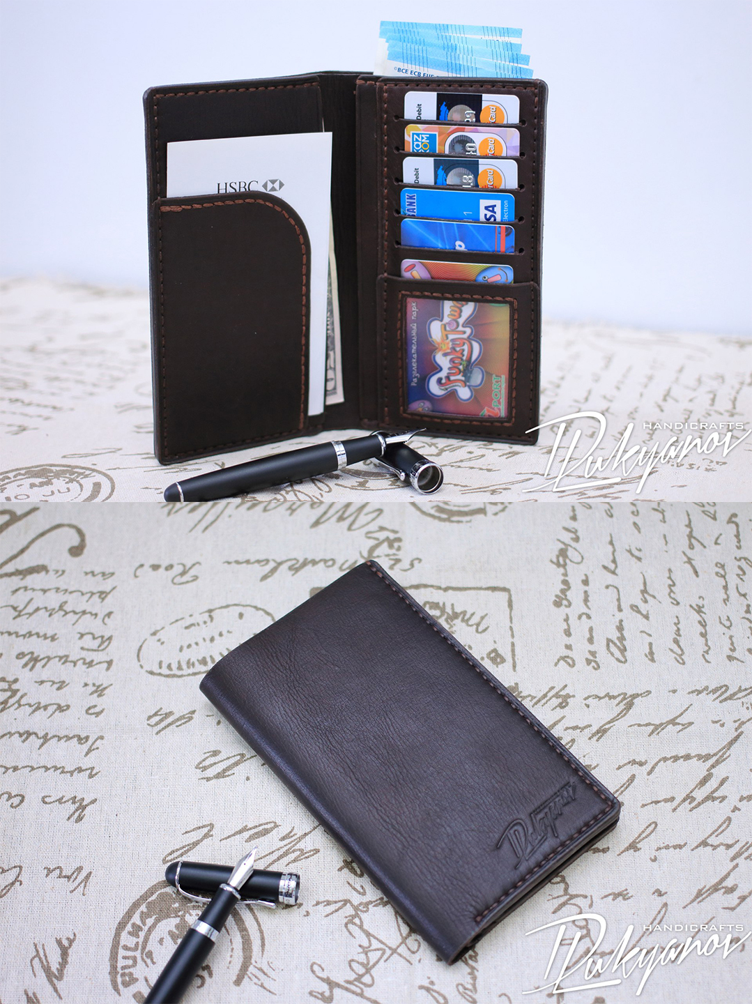 Mens brown Vertical handmade leather Wallet with ID and cards holder buy (order) in Almaty, Kazahstan