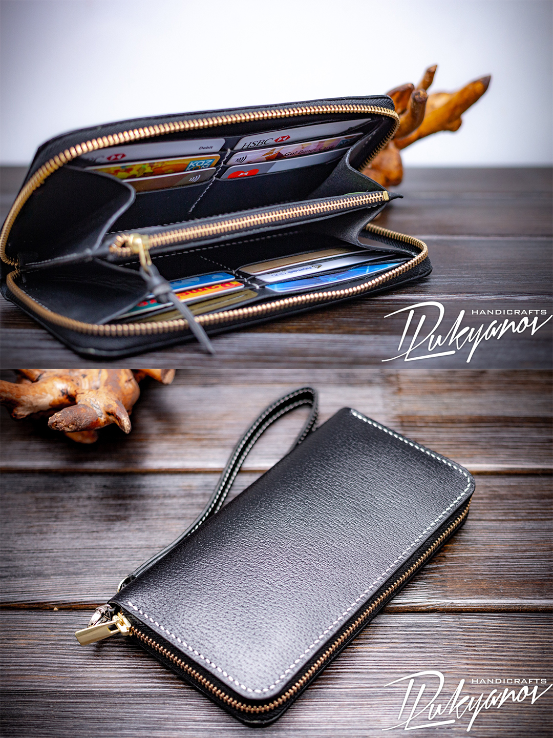 Women Clutch black Color Long handmade Purse Leather Wallet with Card Holder Handbag buy in Almaty, Kazahstan