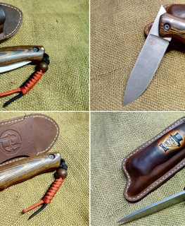 handemade friction folding knife with wooden handle in Russian