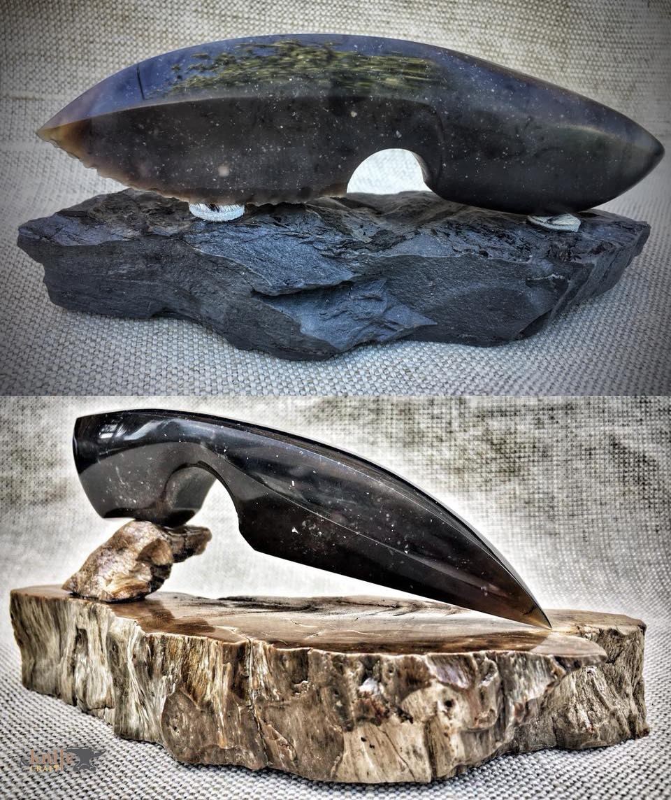 handmade unusual violet stone knife buy in Ukraine