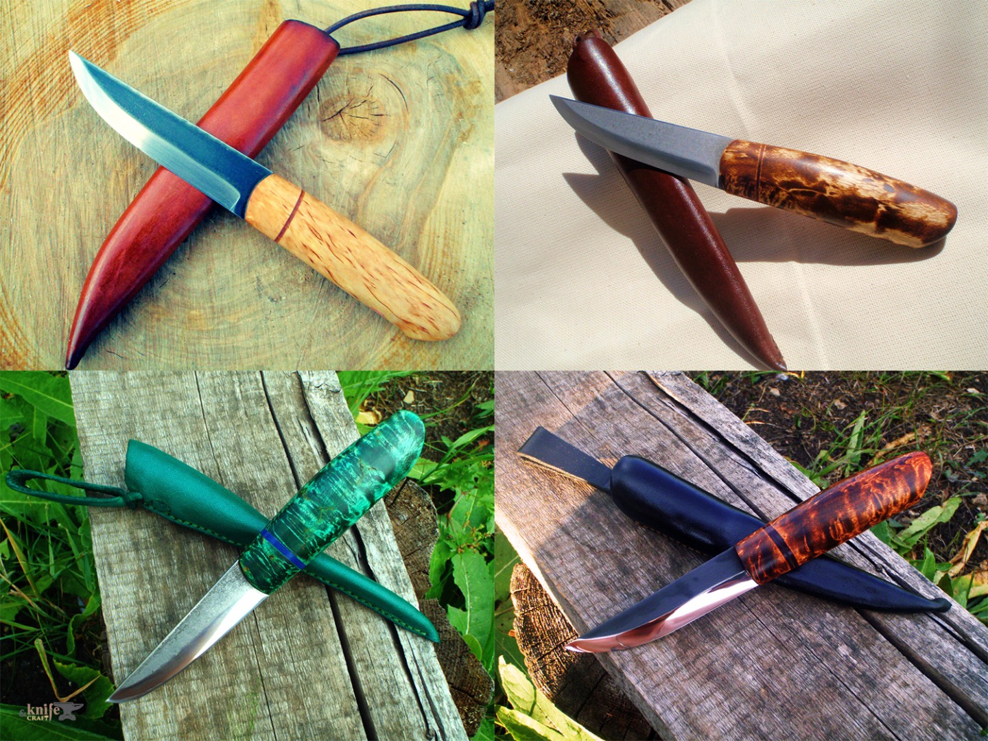 handemade russian hunting knives with forged blades and green and brown handles