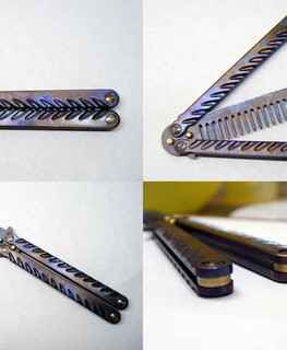 folding butterfly hairbrush (balisong) made of titanium