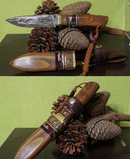 Russian handemade middl fishing knife with laminated Damascus blade