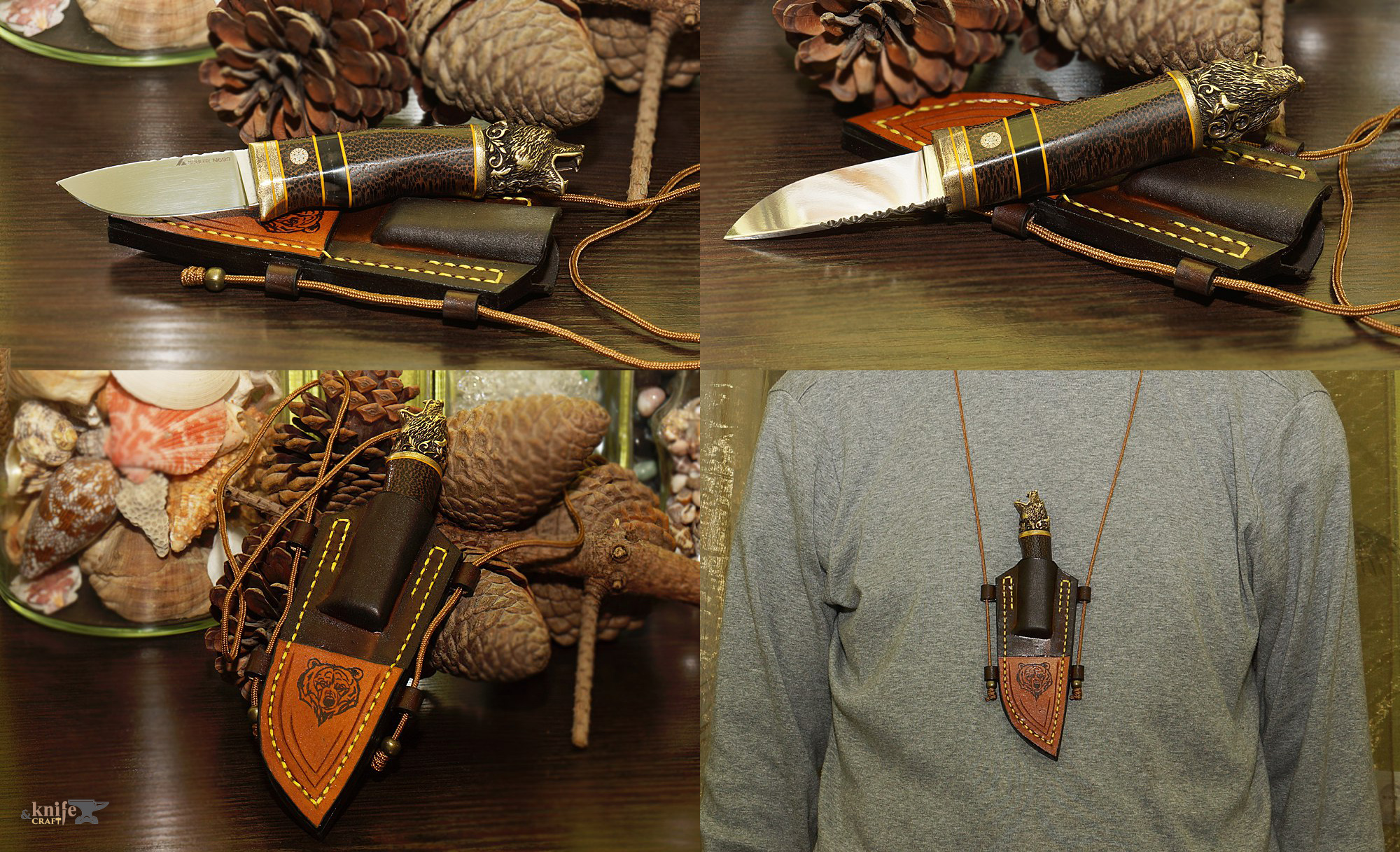 "handemade compact custom neck knife ""Bear"" in Moscow (Russia)"