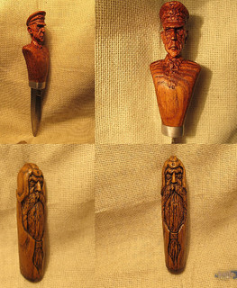 Carved Knife Handle (wooden warrior)
