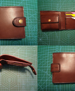 handemade dark brown small compact credit card and coin slot wallet purse