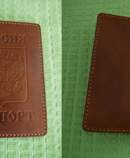 handemade white and brown russian leather passport case buy in Gubkinsky