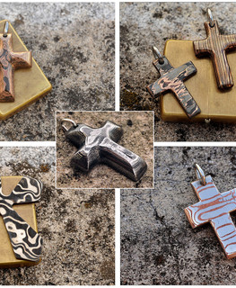 Damascus and Mokume Crosses and Crucifixes