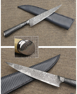 Integral Damascus and Micarta Kitchen / Gaucho Knife