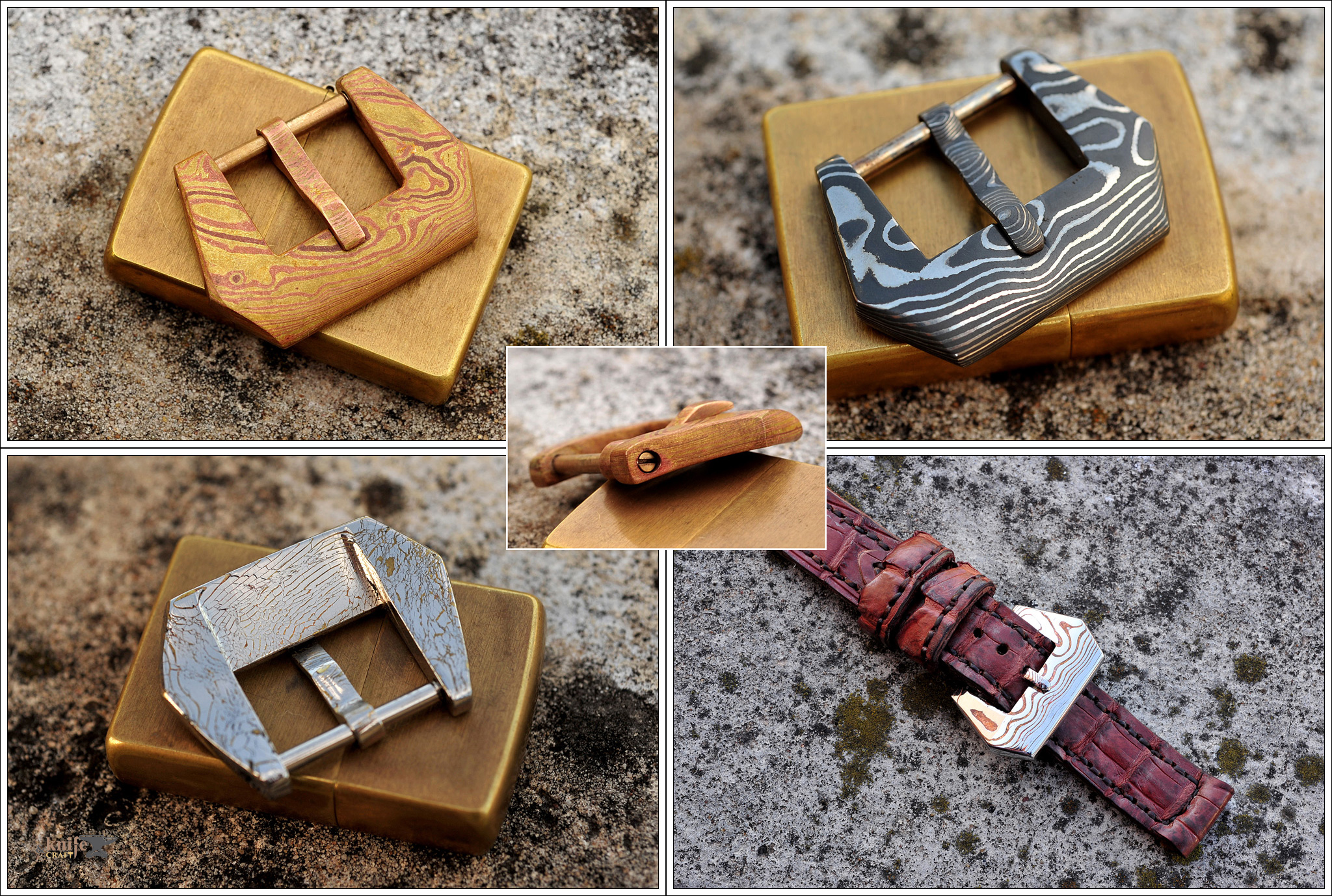 Custom Damascus and Mokume Watches Buckles