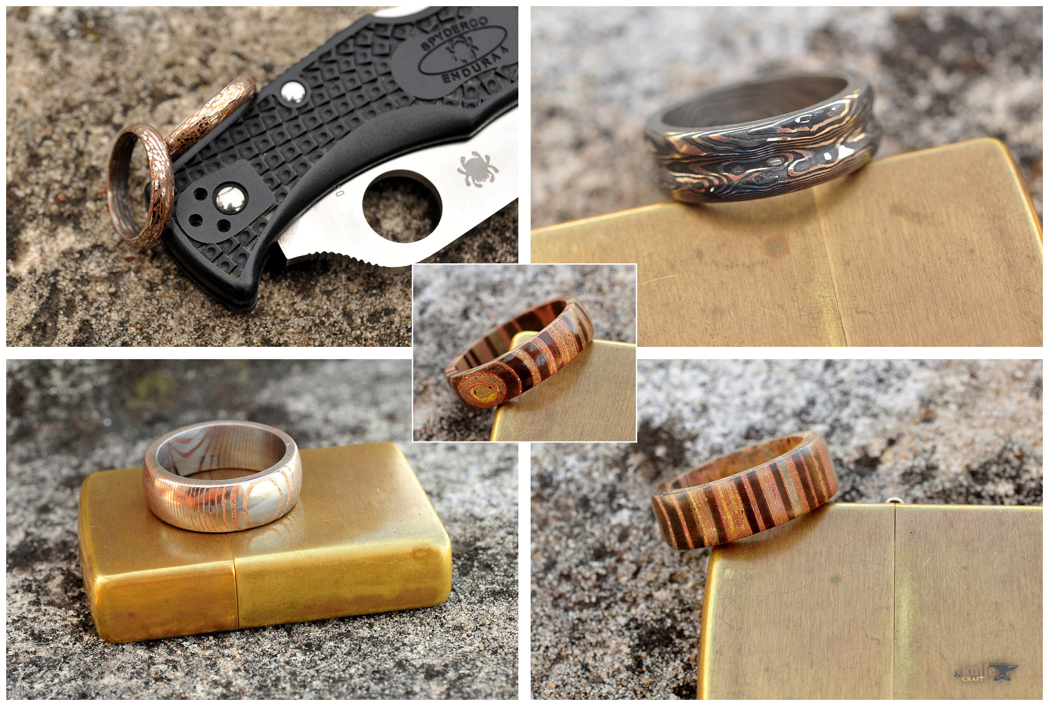 Copper and Steel Mokume Wedding Bands, Damascus and Mokume Rings
