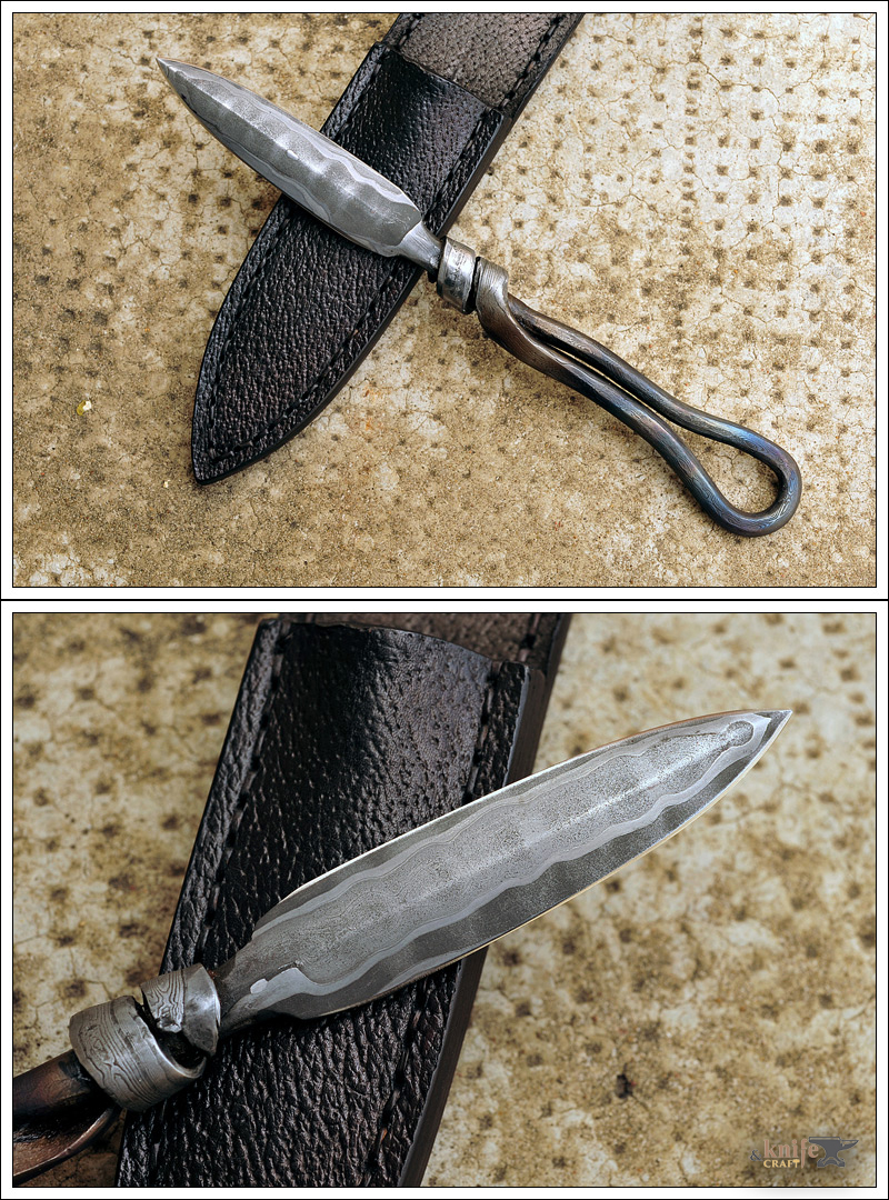 French Nail Knife Damascus in 420MV and A2.